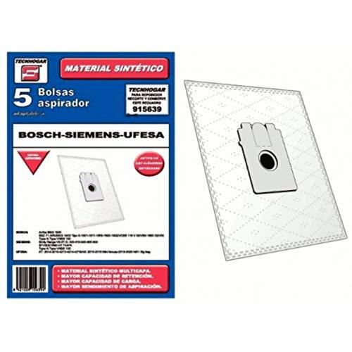 Bolsa sintetica aspirador Bosch Ufesa Siemens 5 UNIDADES 915639: Amazon.es: Hogar