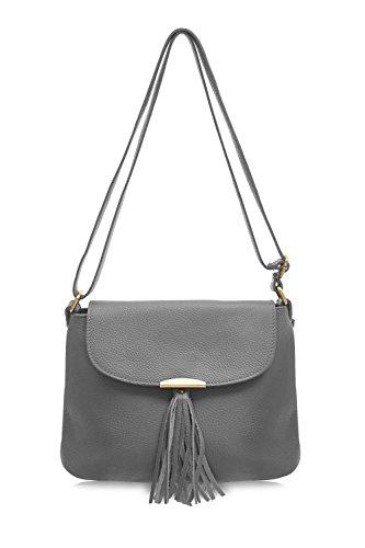 Montte Di Jinne |100% Italian | Soft Leather| Women's Cross Body Bag | Shoulder Bag| with Tassel | Gift for Women | Dark Grey