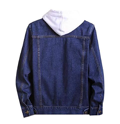 Coat Men Collar Howme Turn Wash Vintage Down Blue Buttoned Dark Pockets Jean Chest dvZvqrtx4w
