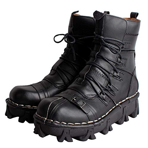 Halle Mens Martin Boot British Fashion Genuine Leather Waterproof High Boot Army Gothic Motorcycle Steampunk Shoes Motorcycle Western Cowboy Boots Uniform Boots 38-45,2black,44