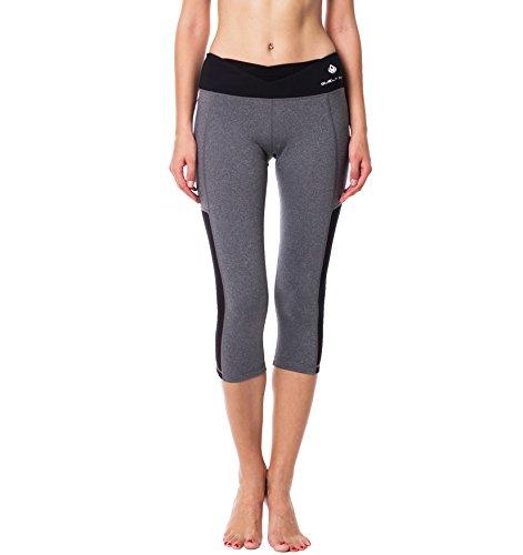 ELECTRA Mélange Gray w Mesh Cutout, Black V Waist Capris Length Leggings, Crops, Capri Pants for Sports, Yoga Spin Workout Fitness Gym Running Walking Training