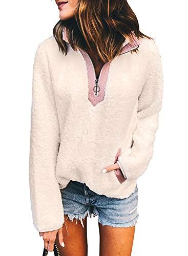 Eytino Women Long Sleeve Zipper Sweatshirt Fluffy Fleece Pullover Outwear Coat,X-Large White -