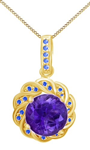 Jewel Zone US Simulated Amethyst & Blue Sapphire CZ Floral Frame Pendant in 14k Yellow Gold Over Sterling Silver