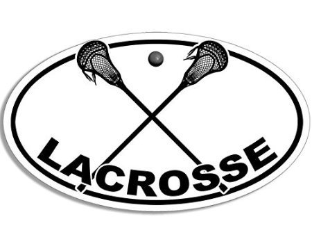 MAGNET Oval LACROSSE With Crossed Sticks Logo Magnetic Sticker (shaft ball decal)