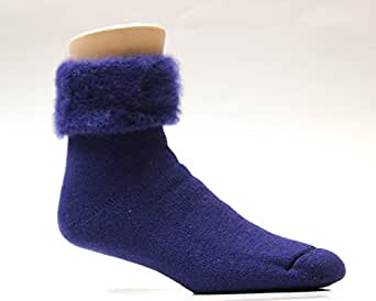 Wooly Feet Solid Color Brushed Bed Wool Leisure Socks (Navy Blue)