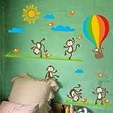 KAWALL BABY Kids Line Animal Monkey Ballon Jungle Nursery Wall Sticker Decals Decor Blackboard for Boys Girls
