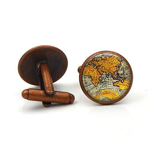 Globe World Map Luxury Shirt French Cufflinks Men Women Accessories Antique Vintage Bronze Gift Plated ancient coppe