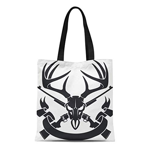 Semtomn Canvas Bag Resuable Tote Grocery Adorable Shopping Portablebags Red Buck Deer Skull Crossing Hunting Rifles and Whitetail Elk Natural 14 x 16 Inches Canvas Cloth Tote Bag