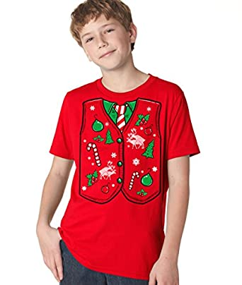 Amazon.com: Youth Ugly Christmas Sweater Vest T Shirt Funny Xmas ...