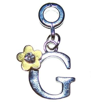 """Hidden Gems - 1 x Plaqué argent """"G"""" Charm Dangle"""