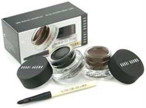 Bobbi Brown Long Wear Gel Eyeliner Duo 2x Gel Eyeliner 3g black Ink sepia Ink Mini Ultra Fine Eye Liner Brush –