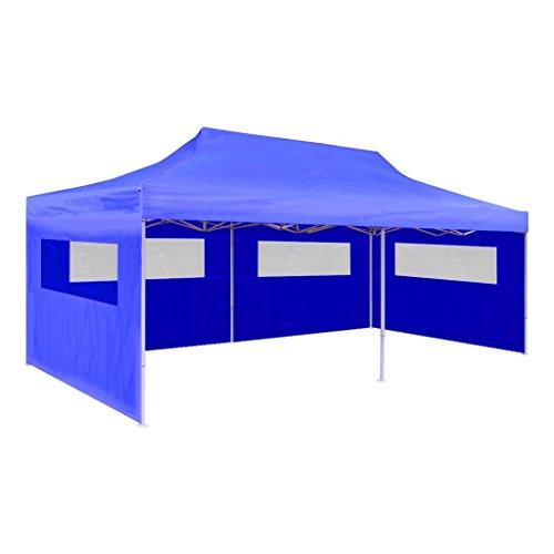 Foldable Gazebo (vidaXL Pop Up Party Tent 10'x20' Blue Outdoor Foldable Patio Canopy Gazebo)