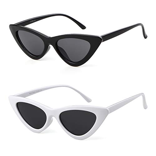 Clout Goggles Cat Eye Sunglasses Vintage Mod Style Retro Kurt Cobain Sunglasses (Black&Red(2 packs), ()