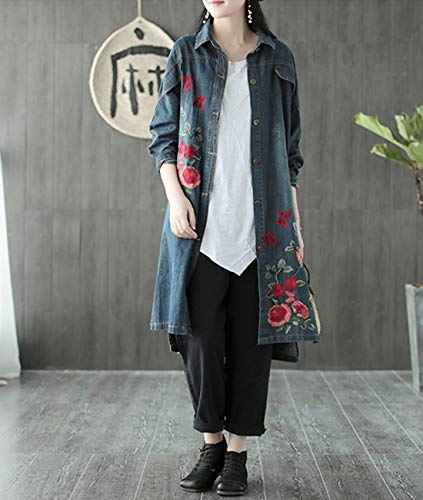 Jacket Women WK3 Slit Wk3 Decoration Down Denim Long Loose Yesno Floral Blue Button Embroidery Flap Trench Coat Casual Side xwYd5Rd1q