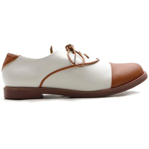 Ollio Women's Flat Shoe Lace Up Two Tone Oxford