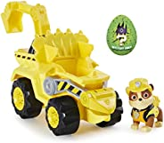Paw Patrol, Dino Rescue Rubble's Deluxe Rev Up Vehicle with Mystery Dinosaur Figure
