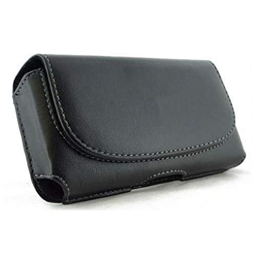 Black Leather Phone Case Cover Pouch Belt Clip Loops Compatible with Alltel BlackBerry Torch 9850 - AT&T iPhone 5 - AT&T iPhone 5C