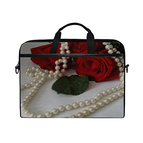 (Rh Studio Laptop Bag with Shoulder Strap Handle Roses Flowers Three Pearls Jewelry Leaf Messenger Bag Case Sleeve for 14 to 15.6 Inch with Adjustable Notebook Shoulder Strap)