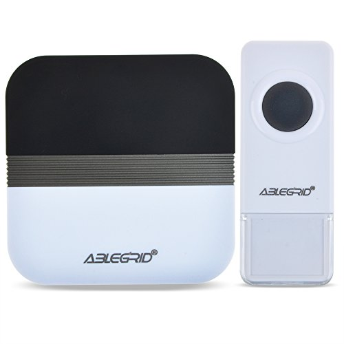 ABLEGRID Portable Wireless Doorbell with 900-feet, 52 Chimes, IP44 Waterproof Transmitter,  4-Level Volume with LED Indicator Doorbells, No Batteries Required for Receiver ( FX-B7 )