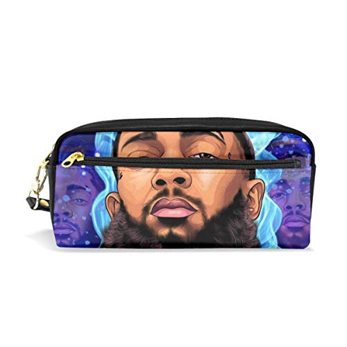 VIXXLH Nip-sey Hussle Rap Boys Girls Portable Pen Box Unisex Child Custom Stationery Bag Multi-Functional Makeup Cosmetic Bags with Double Zippered