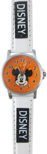 White Mickey Mouse Orange Face Leather Band Watch