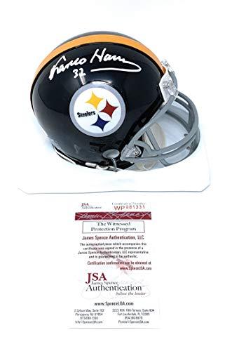 Franco Harris Pittsburgh Steelers Signed Autograph Throwback Mini Helmet HOF Inscribed JSA Witnessed Certified