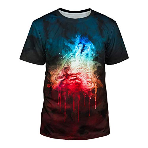 (Kayolece Colorful Animal T Shirts for Young Men 3D Cool Rave Wolf Print Graphic Tops for Boys Teens Casual Wear M)