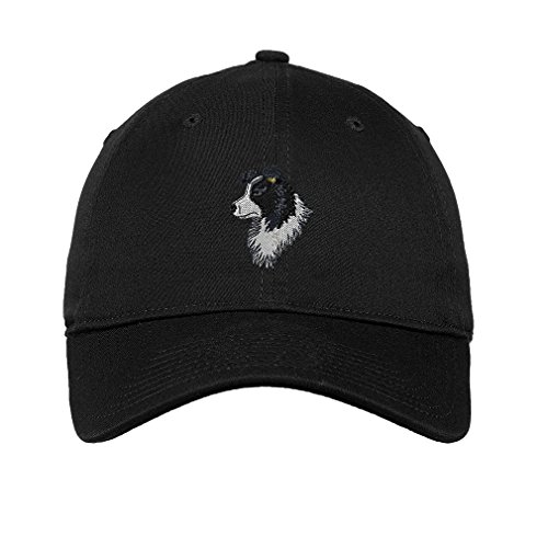Border Collie Head Face Embroidered Unisex Adult Flat Solid Buckle Cotton Unstructured Hat Low Profile Cap - Black, One Size
