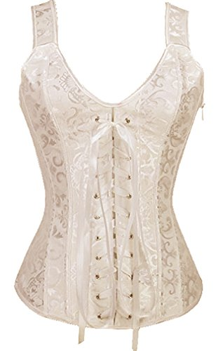 KIWI RATA Women Sexy Boned Lace up Corset and Strap Bustiers Top Overbust (Elegant Bustiers)