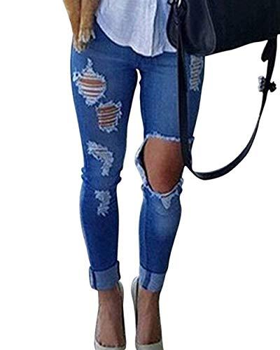 Tasche Alta Unique Pantaloni Strappati Buco 88 Elasticizzati Bobo Blau Con Strappato Matita Vita Skinny Stlie A Jeans FAZZpq