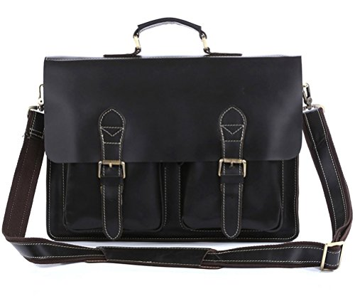 Mige Intl Mens Genuine Cow Leather Business Briefcase Messenger ... 75391b51f5938