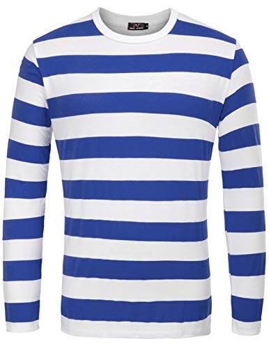 PAUL JONES Fashion Cotton T-Shirt with Long Sleeve Striped for Men(Royal Blue Stripe,XXL)