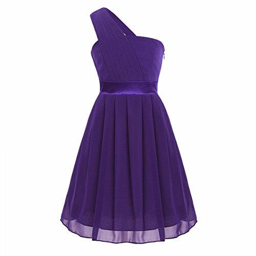 (iiniim Big Girls One Shoulder Chiffon Pleated Wedding Bridesmaid Pageant Party Flower Girl Dress Purple 12)