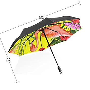 Mujer sunny lluvia paraguas estilo Tropical Colorful Flamenco hojas parasol resistente al viento anti-UV