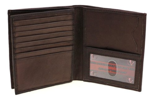Paul & Taylor Brown Leather Hipster Center Flap Bifold (Leather Mens Hipster)