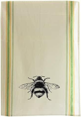 Bumblebee Vintage Look Cotton Retro Stripe Dish Kitchen Towel Green Stripe