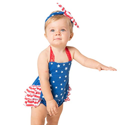 Independent Print Pants - Matoen Toddler Baby Girls Independent Day Jumpsuit Set Lace Suspender Stars Print Romper+Bowknot Headbands 2PCS (6-12 Months, Blue)