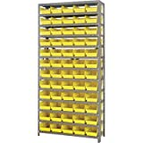 Quantum Storage 60 Bin Shelf Unit - 12in. x 36in. x 75in. Rack Size, Yellow