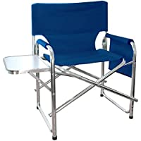 MP Essentials Strong Sturdy Portable Travel Sports Directors Chair with Pockets & Table