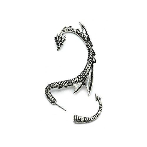 Silver Phantom Jewelry Women's Silvertone Dragon Ear Cuff Wrap Earring Gothic Jewelry (Left Ear) (Thrones Earrings)