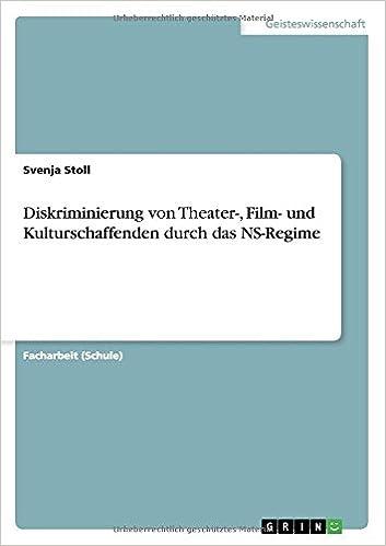 Book Diskriminierung von Theater-, Film- und Kulturschaffenden durch das NS-Regime