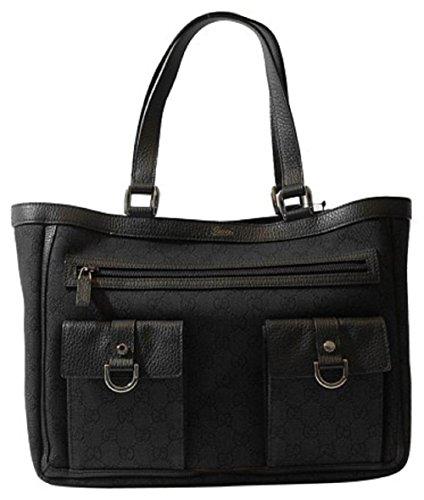 Bag Gg Monogram - Gucci Black Denim Abbey Tote Handbag Purse 268639 1160