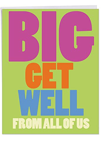 Get Well Soon Card with Envelope 8.5 x 11 Inch -Big Get Well From Us Sympathy and Feel Better Cards - Greeting Card Prayers and Condolences for Sick (Jumbo Version) J3897GWG
