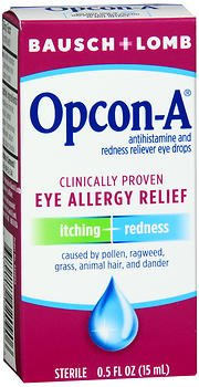 Bausch + Lomb Opcon-A Eye Drops Allergy Relief - 0.5 oz, Pack of 4