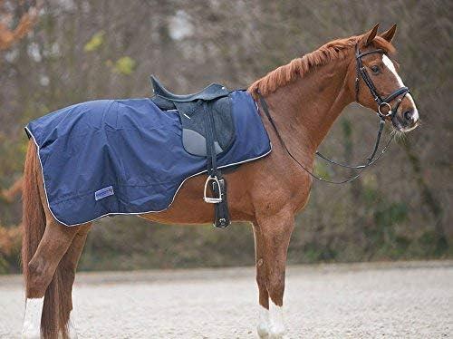 Reitsport Amesbichler Waldhausen - Manta de equitación con corte para sillín, impermeable, color azul oscuro, talla Warmblut Manta para caballo