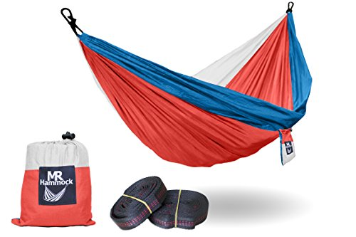 Mr Hammock Single - Supports Up to 400lbs - Lightweight Portable Nylon Parachute Hammock with 2 X Hanging Tree Straps (Large) for Outdoor Hiking, Camping, Backpacking, Travel, Beach, Yard - (Patriot Red White Blue Frame)