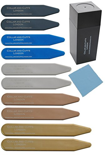 COLLAR AND CUFFS LONDON - 10 Metal Shirt Collar Stiffeners - 5 COLOURS, 5 SIZES - 2'' 2.2'' 2.35'' 2.5'' 2.8'' - Silver Black Gold Blue Rose Gold Colours - With Plastic Storage Box - 5 pairs by COLLAR AND CUFFS LONDON