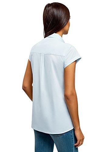 oodji Ultra Women's Short Sleeve Cotton Shirt with Turn-Ups, Blue, 2 by oodji (Image #2)