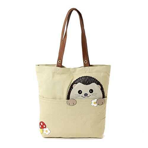 Peeking Hedgehog Canvas Tote Bag Beige