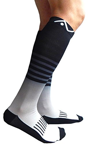A-Swift Compression Socks (1 pair) for Women & Men by Stripey Grey, Small